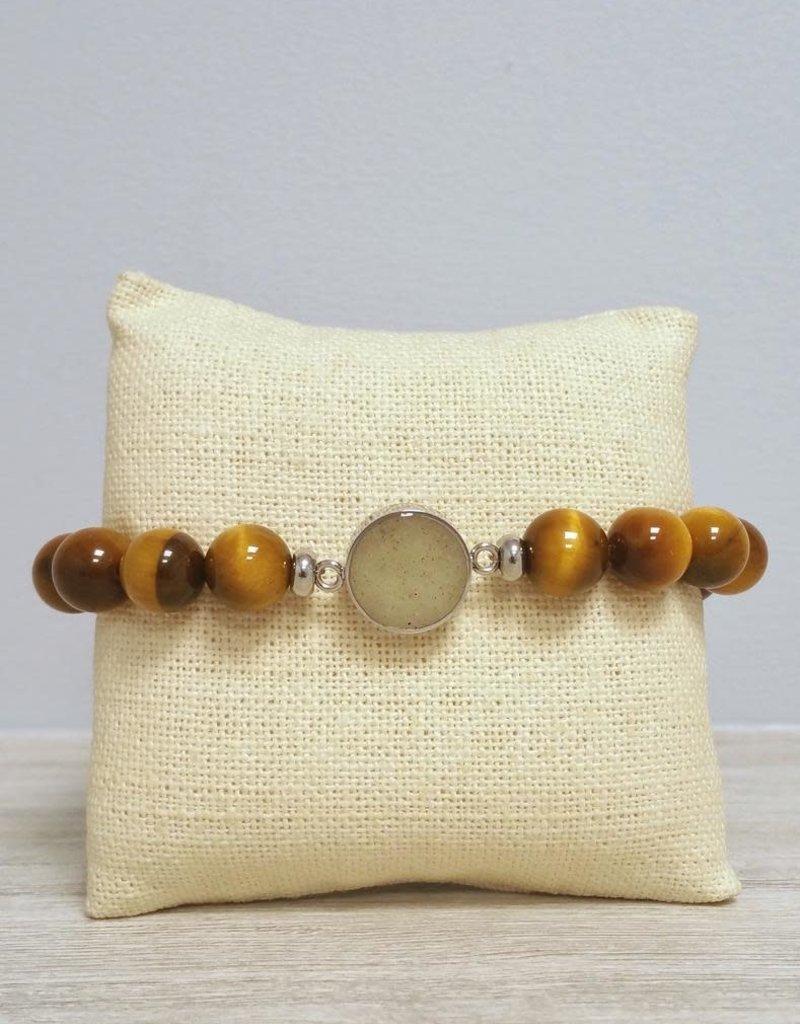 Dune Jewelry Men's Beaded Bracelet - Tiger Eye - Crescent Beach