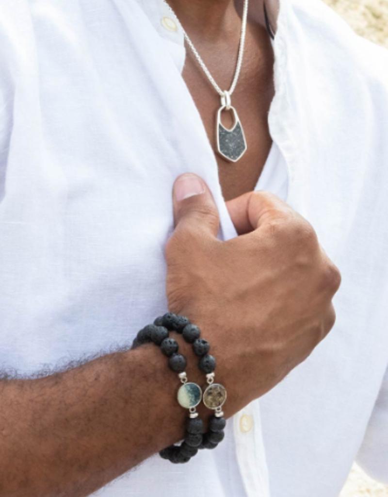 Dune Jewelry Men's Beaded Bracelet - Lava - Shells from Florida
