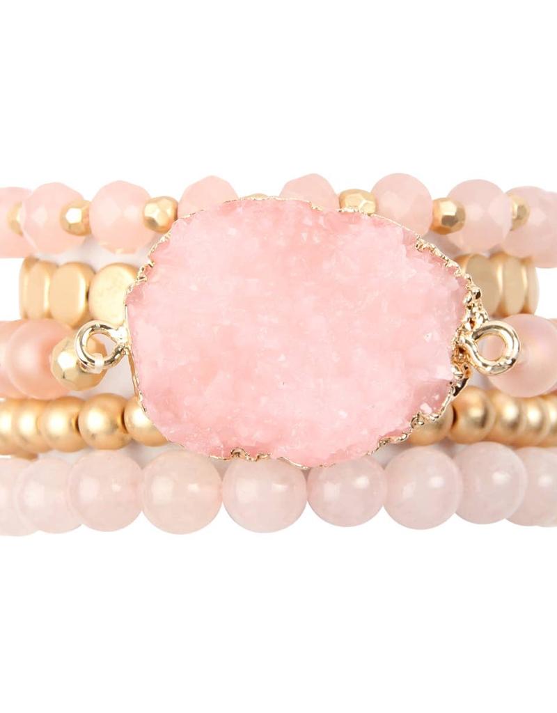 Druzy Charm Mixed Bracelet Set - Pink