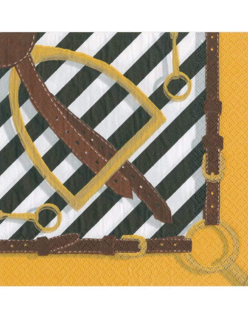 Stirrups and Silks Paper Luncheon Napkins in Black & White - 20 Per Package