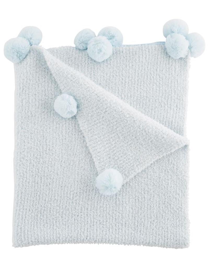 """Blue Chenille Blanket - 28"""" x 34"""""""