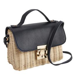 Rattan Crossbody Bags - Black