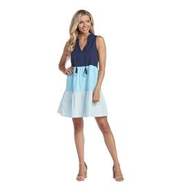 Blue Mckenna Color-Block Dress - Large