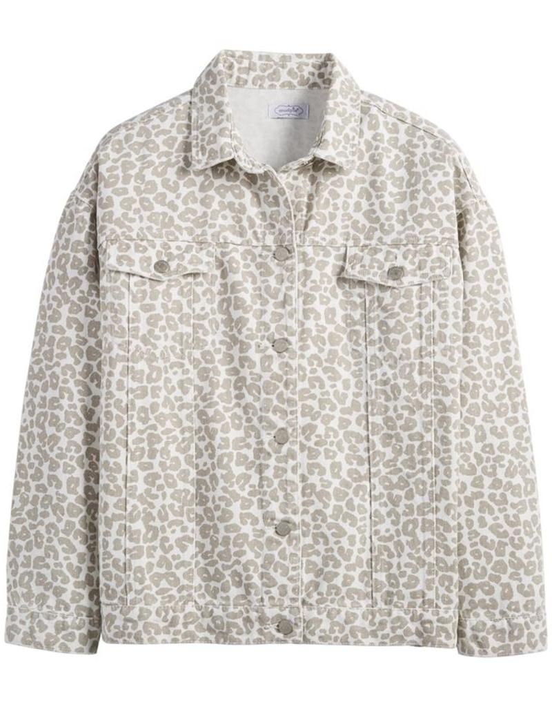 White Leopard Shaw Boyfriend Jacket - X-Large