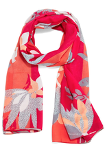 Coral Multicolored Floral Print Scarf