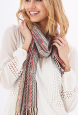 Scenic Route Knit Multicolored Scarf with Fringe - Assorted