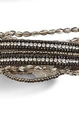 Crystal Embellished Multi Row Bracelet - Silver