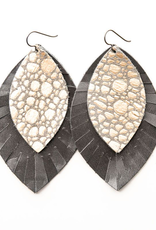 Pebbles In Platinum With Gray - Large Layered Leather Earrings
