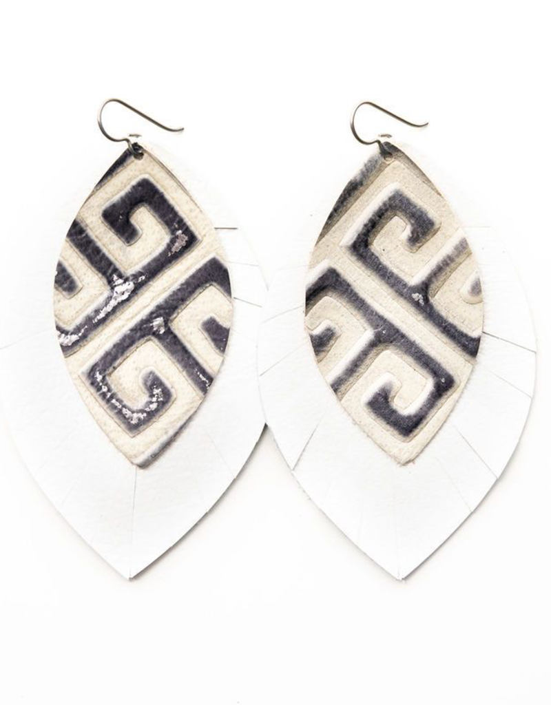 Greek Key With White - X-Large Layered Leather Earrings