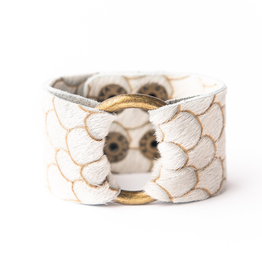 Scalloped In Cream And Taupe Leather Cuff