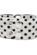 Spotted In Black Leather Cuff