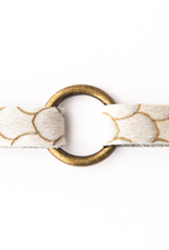 Scalloped In Cream And Taupe Leather Bracelet