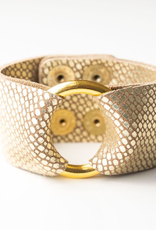 Gold Cobblestone Leather Cuff - Extended