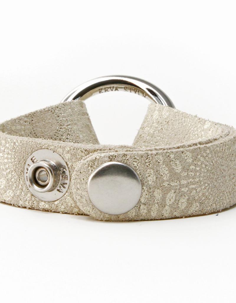 Starburst Platinum Leather Bracelet
