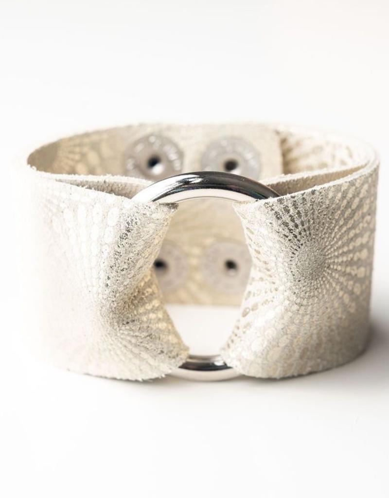 Starburst Platinum Leather Cuff