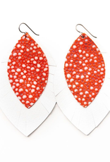 Coral Speckled With White - Large Layered Leather Earrings
