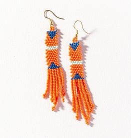 "Coral Petite Fringe Seed Bead Earring 3.5"""