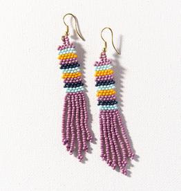 "Lilac Stripe Petite Fringe Seed Beac Earring 3.5"""
