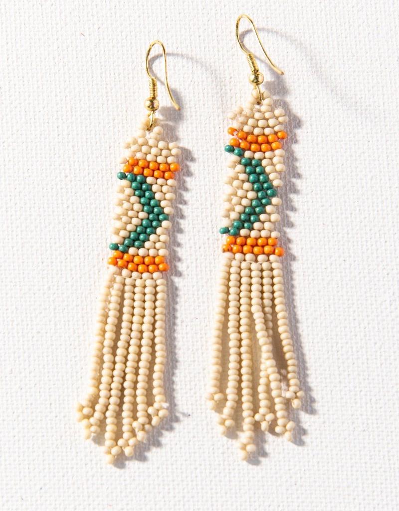 "Ivory Petite Fringe Seed Bead Earring 3.5"""