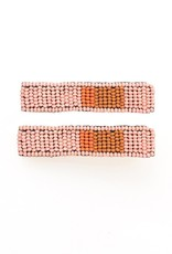 """Pink Coral And Rust Beaded Hair Clip 2.25"""" - 2 Pack"""