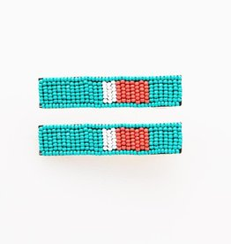 """Turquoise Tomato And White Beaded Hair Clip 2.25"""" - 2 Pack"""