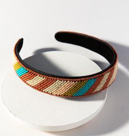 Rust And Turquoise Diagonal Stripe Headband