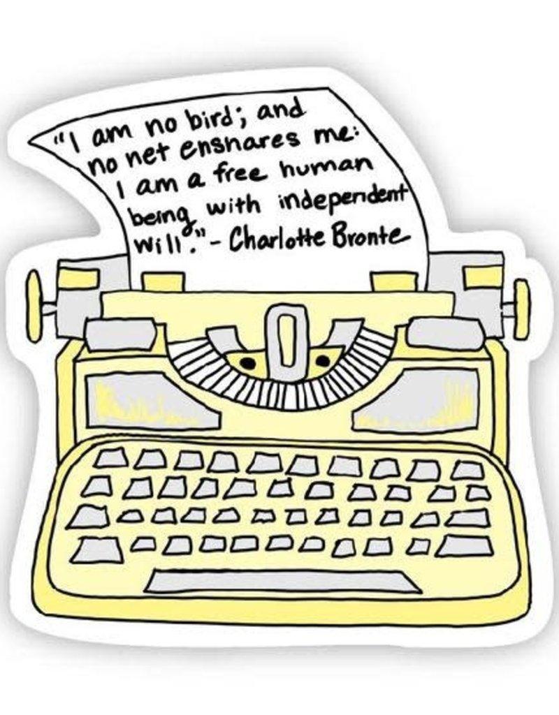 I am no bird yellow typewriter (Charlotte Bronte Sticker)