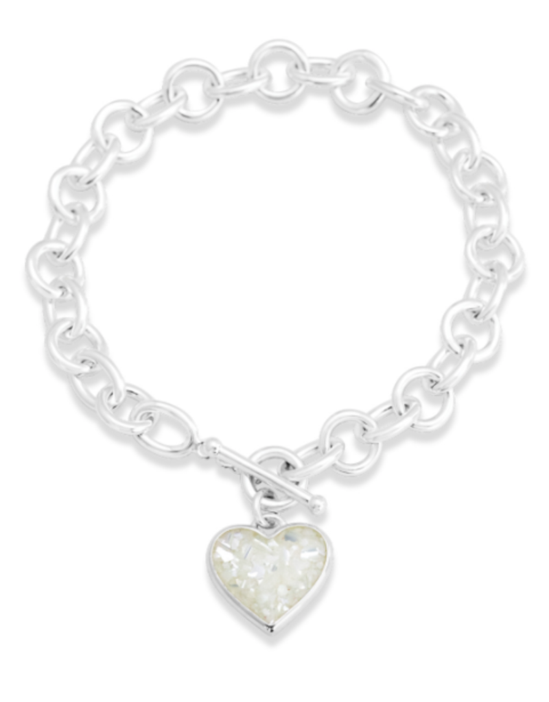 Dune Jewelry Full Heart Toggle Bracelet  - Mother of Pearl
