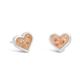 Dune Jewelry Sand Jewel Stud Earring - Heart  - Shells from Florida (Pink)