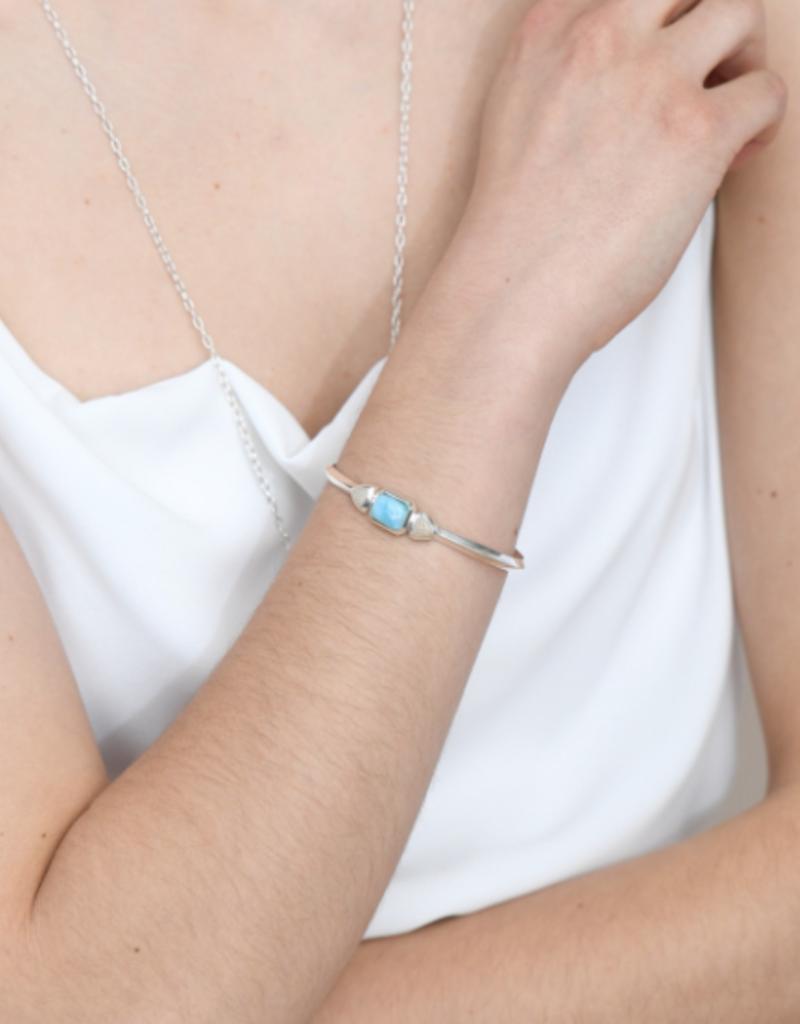 Dune Jewelry Serenity Cuff Bracelet - Larimar and Shells from Florida - Shell Beach