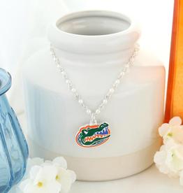 Florida Gator Enamel Logo & Pearl Necklace