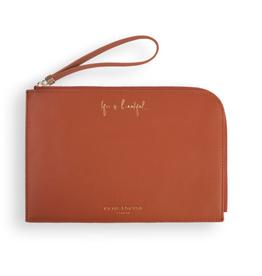 Katie Loxton Secret Message Pouch - Life Is Beautiful... - Cognac