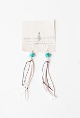 "Nicole White Leather Fringe, Green Turquoise Bead Earrings - 4.5"""