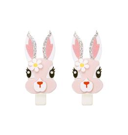 Cute Pink Bunny w/Flower Alligator Clips