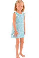Gretchen Scott Designs Girls Cotton Dress- Piazza  - Turquoise & Periwinkle - Size 4-6