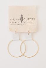"Leslie Curtis Laura White Leather & Gold Medium Hoop Earrings - 2"""