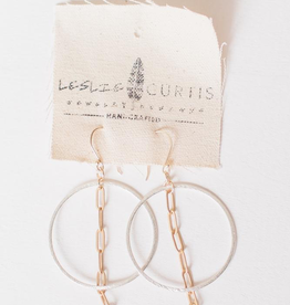 """Leslie Curtis Mack Gold Chain & Silver Hoop Earrings - 2"""""""