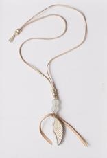 "Leslie Curtis Finley Angel Wing Bone Inlay Suede Necklace - 32"" Adjustable"