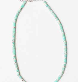 "Leslie Curtis Elizabeth Green Turquoise Heshi Beaded Necklace - 16"""