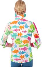 Gretchen Scott Designs Boyfriend Shirt - What a Catch -  Brights - X-Small