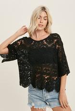 Crochet Lace Top - Black - Small
