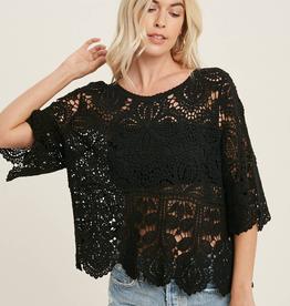 Crochet Lace Top - Black - Large