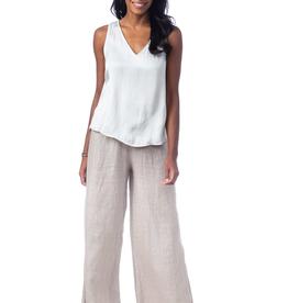 Lenore Wide-leg Latte Linen Pants - Small-Medium
