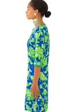 Gretchen Scott Jersey Split Neck Dress - Glorious - Blue & Green - Small