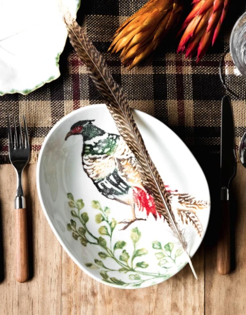 Vietri Fauna Pheasants Oval Pasta Bowl