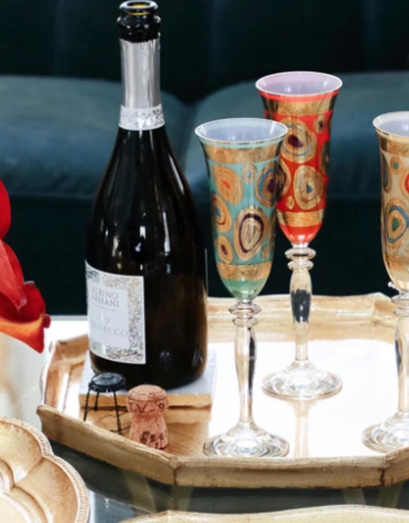 Vietri Regalia Champagne Glass - Orange