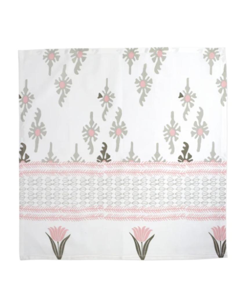 Vietri Bohemian Linens Gray/Pink Napkins - Set of 4