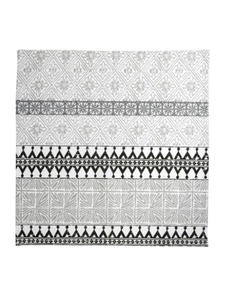 Vietri Bohemian Linens Gray/Black Napkins - Set of 4