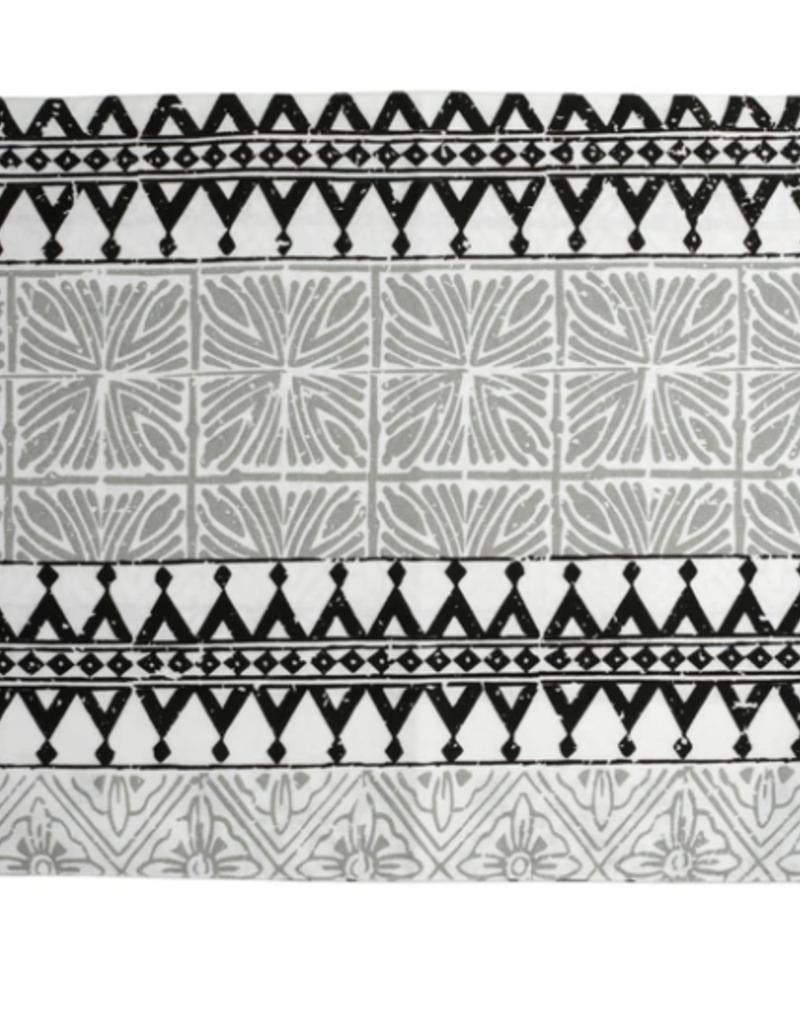 Vietri Bohemian Linens Gray/Black Reversible Placemats - Set of 4