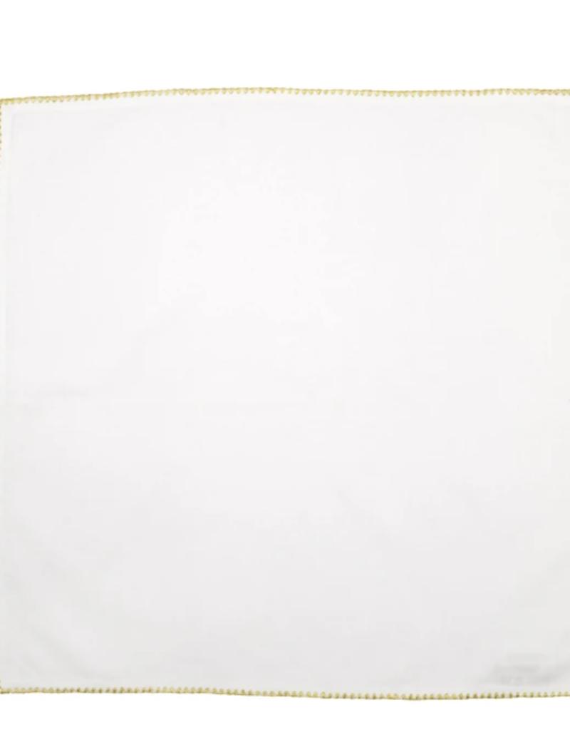 Vietri Cotone Linens Ivory Napkins with Gold Stitching - Set of 4